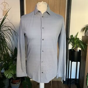 COS Mens Smart Shirt Jersey grey Blue Size Small Office Work Casual Button Up