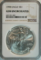 1998 American Silver Eagle Dollar $1 / .999 Pure / Certified NGC GEM BU 🇺🇸