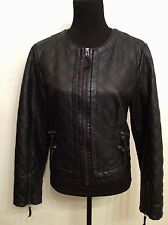 """""""Charming Charlie"""" Black Faux Leather Lined Motorcycle Style Jacket/Coat Size L"""