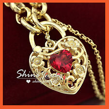 9K GOLD GF VINTAGE LOVE PADLOCK RUBY RING LINK BELCHER CHAIN WOMEN BRACELET GIFT