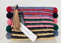 Loeffler Randall New w Tags Rainbow Raffia Tassel Clutch Bag Purse Knit Straw