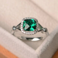 14K White Gold 1.70 Ct Cushion Natural Diamond Real Emerald Ring Size K L 11ssss