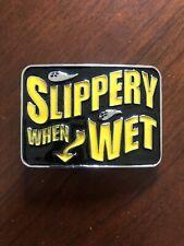 Slippery When Wet Arrow Funny Yellow Bar Joke Metal Unisex Men's Belt Buckle