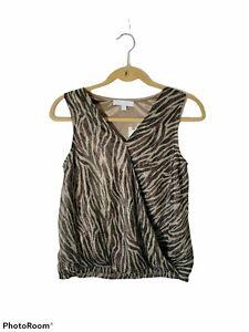 NWT Women's Anthro Eri + Ali Sz Small Kasi Shimmer Sleeveless Top-Tiger Stripe