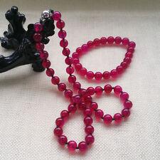 Fashion Beautiful 10MM Dark rose red jade Necklace & Bracelet Jewelry Set
