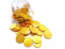 70 Chocolate Gold coins in Gold foil and Euro coins Look in Transparent box