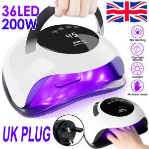 200W SUN Nail Lamp UV LED Light Professional Tool Dryer Gel Curing Machine Timer