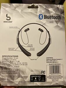 BASS JAXX PRO QUALITY PLATINUM BLUETOOTH HEADSET NECKBAND GOLD BRAND NEW In Box