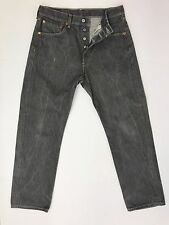 Levis 501 Jeans Distressed Gray Wash Straight Fit Button Fly Cotton Mens 33x31