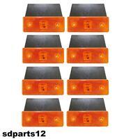 8 x 24v LED Arancio Indicatore Laterale Luce Ambra con Base Per Camion Trattore