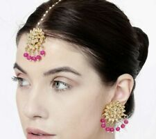 Tikka Earrings Set Ethnic Fashion Jewelry Indian Bollywood Party wear Pink Maang