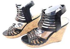 Pink & Pepper Womens  Black Platform Wedge Empress Open Toe Shoes Size 8 1/2