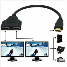 32.5CM HDMI Male to 2x HDMI Double Female Y Splitter Adapter Cable Lead HD TV UK