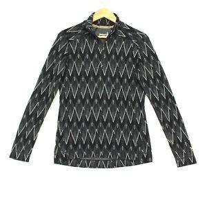 Smartwool Merino 250 1/4 Zip Base Layer Womens Large Black Gray Zig Zag Pattern