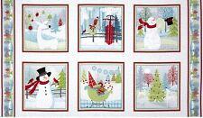 Alegría Navideña Navidad Panel de algodón acolchado Tela - 60 Cm X 110 Cm 6 Paneles