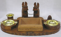 Vintage Wood Cigarette Holder Ashtrays Scottie Dogs Desk Organizer Germany