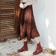 Lady Knitted Midi Skirt Tassel Pleated Irregular Stretch Winter Warm Fashion