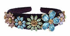 NWT DOLCE & GABBANA Purple Blue Brocade Gold Crystal Floral Headband Hair Diadem
