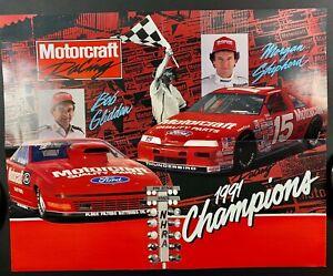 NASCAR NHRA FORD RACING BOB GLIDDEN MORGAN SHEPHERD FOLD OUT POSTER MOTORCRAFT