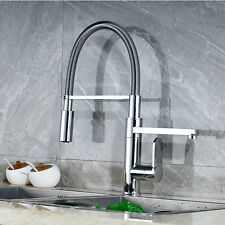 Chrome Brass Kitchen Faucet Spring Vessel Sink Mixer Tap Dual Swivel Spout Tap
