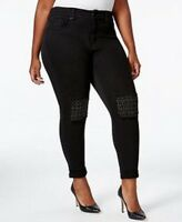 NEW Melissa McCarthy Seven 7 Jeans Womens Plus Size 26 W Skinny Black Bling NWOT