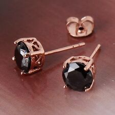 UNIQUE  CHIC 18k rose gold filled black sapphire women wedding stud earring