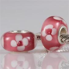 NEW 925 Silver Murano Glass Lampwork Flower Floral Charm European Bracelet Bead