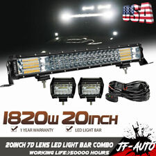 "Tri Row 1820W 20""inch 7D LENS LED Light Bar Combo Beam Driving Dual Color Lamp"