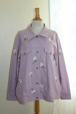 Quacker Factory -Sz 1X- Lovely Gingham Daisies Purple Embroidered Check Jacket
