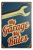 My Garage My Rules Retro Vintage Decor Metal Tin Sign Fun Garage Sign