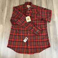 Men's Woolrich Flannel Shirt Size Large Button Down Red/Black NWT