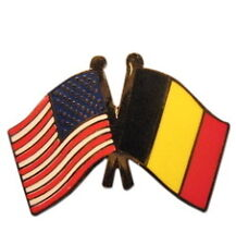 Belgium Friendship with USA Flag Lapel Badge Pin