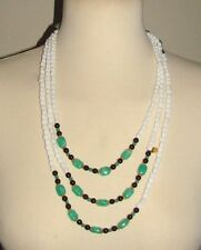 "VINTAGE WILLIAM DeLiLLO SAUTOIR 77"" NECKLACE MILK GLASS JADE GREEN BEADS LONG"
