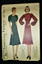 """UNUSED RARE VINTAGE 1930's SIMPLICITY SEWING PATTERN 2941 FITTED DRESS BUST 32"""""""