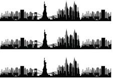 New York Skyline A4 Edible Icing Cake Side Strips / Ribbon 3 strips USA, NYC