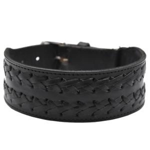 Leather Dog Collar Double Strip Adjustable Black Large Dogs Heavy Duty Handmade