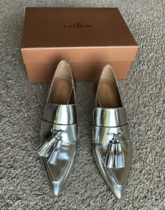 NEW Coach Betty Loafer Silver Mirror Metallic Heels Size 7 M Leather Q7937-SLV
