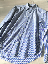 Polo Ralph Lauren Size L Womens Long Sleeve Shirt White Blue Stripped DryCleaned