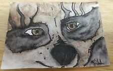Aceo Original Mixed Media Art Card The Raccoon The Bandit Painting Signed