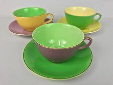 Leighton England Royal Ware Purple Green Yellow Easter Colors 3 Cups & Saucers