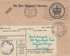 OFFICIAL MAIL: 1958 OHMS redirected envelope-POST ROOM/RAF COLLATON CROSS s/ring