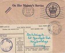 Corrispondenza ufficiale: 1958 OHM reindirizzati envelope-post locale / RAF collaton CROSS S / Anello