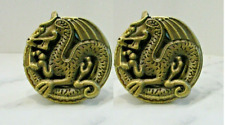 2 Gorgeous Vintage Gold Chinese Luck Dragon  Cabinet Drawer Knob closet Pulls