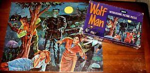 Vintage 1960s JAYMAR Wolf Man/Frankenstein Jigsaw Pieces Puzzle COMPLETE w/Box