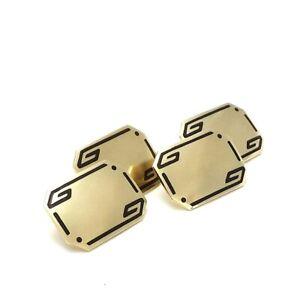 Art Deco Wood and Sons 14k Gold Enamel Engravable Cufflinks