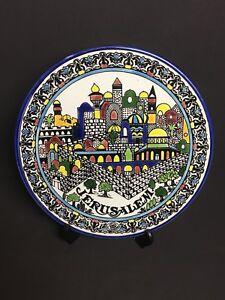 "Vtg 10.5"" JERUSALEM Art Pottery Holy Land Decorative Wall Plate Israel Signed"