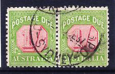 AUSTRALIA 1934 SGD111 Postage Due 1/- carm & yell-gr P11 fine used pair cat £70