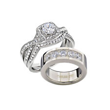 Cut Aaa Cz His & Hers zx Women's Wedding Band Ring Set Stainless Steel Round