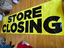 Store Closing Banner W/ Brass Grommets Advertising Thick Vinyl Flag Sign 3' X 9'
