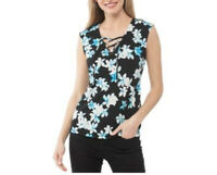 Calvin Klein Womens Blouse Top Size XL Black Floral Sleeveless Lace Up V Neck